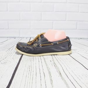 LL Bean Signature Blue Leather Boat Shoes Size 7